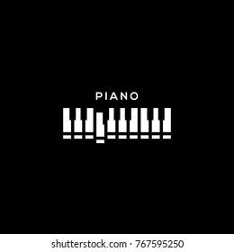 Piano keyboard logo template design. Vector illustration.