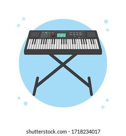 Piano Keyboard. Modern Pianist. Music Instrument Logo Vector Illustration