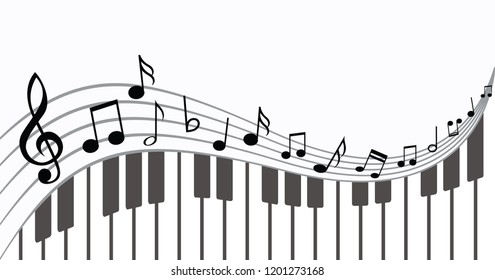 Piano keyboard Music notes musical notes waves Vector party loading icon background banner icon symbols keys funny fun music art seamless pattern sound backdrop concept staff Music Line card songs
