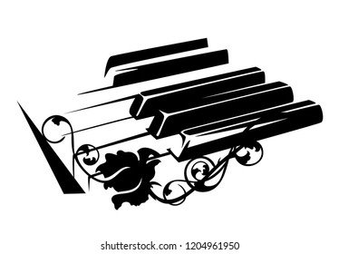 piano keyboard and rose flowers - classical music concept black and white vector design