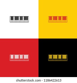 Piano Keyboard sign. Vector. Icons of german flag on corresponding colors as background.