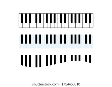 Piano keyboard simple icon set vector. Piano keys curved icon set vector. Piano keyboard musical instrument vector icon. Piano vector isolated on a white background