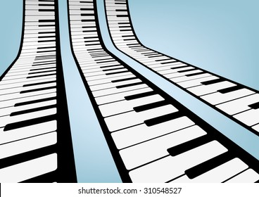 Piano keyboards vector illustrations