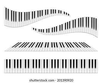 Piano keyboards vector illustrations. Various angles and views