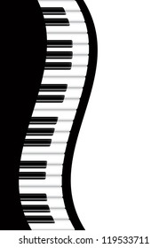 Piano Keyboards Wavy Border Background Vector Illustration