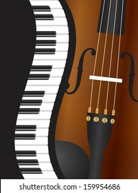 Piano Keyboards Wavy Border with Violin Closeup Background Vector Illustration