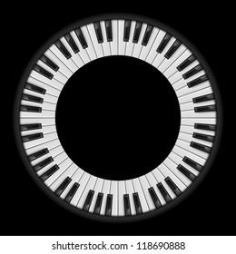 Piano keys. Circular illustration, for creative design on black
