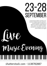Piano keys. Fortepiano jazz live concert music poster template, flyer or invitation.