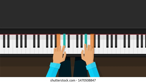 Piano keys with hands learning play chords vector illustration, flat cartoon piano keyboard lesson app for studying