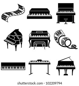 piano and keys icons vector set