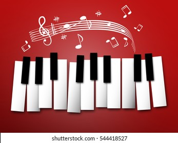 Piano Keys. Music Notes and Staff. Abstract Background.