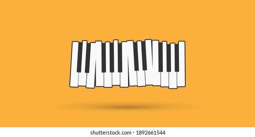 Piano keys over black flat vector illustration