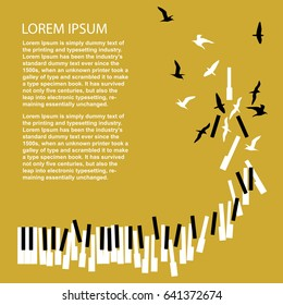 Piano keys turn into birds. Template for concert poster. Music festival announcement.