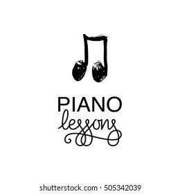 Piano lessons logo for piano school. Music lessons logotype. Music background. Hand drawn music note vector illustration.