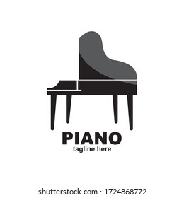 Piano logo design vector illustration