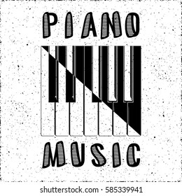 Piano Music Calligraphy Illusion Logo Lettering with Piano Keys Yin Yang Style Composition and Grunge Effect - Black Elements on White Background - Flat Contrast Graphic Design