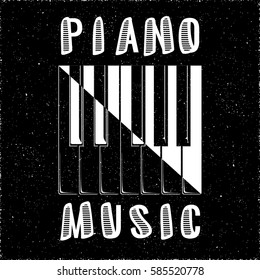 Piano Music Calligraphy Illusion Logo Lettering with Piano Keys Yin Yang Style Composition and Grunge Effect - White Elements on Black Background - Flat Contrast Graphic Design