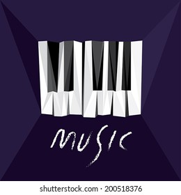 Piano Music. Concept with abstract piano keys. Fully scalable vector illustration