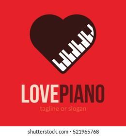 PIANO MUSIC LOVE HEART LOGO ICON SYMBOL EMBLEM TEMPLATE