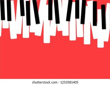 Piano Music Poster. Black and White Piano Keyboard. Music Symbol. Vector Piano Keys
