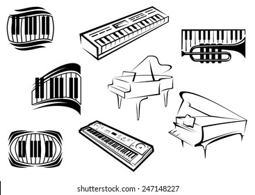 Piano musical outline icons and symbols with piano keyboards, grand pianos, synthesizers and trumpet suitable for classical and jazz music concept design