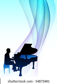 Piano  Musician on Abstract Flowing Background Original Illustration
