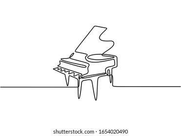 Piano one line drawing. Vector illustration continuous single hand drawn, classical music instrument. Minimalism art isolated on white background.