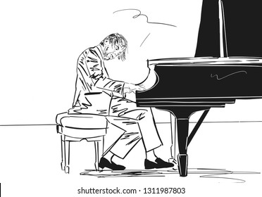Piano player. Black silhouette on white background. The musician plays the grand piano. Musical illustration. Vector.