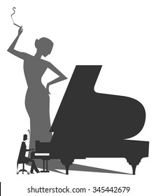 Piano Player Silhouette with a woman shade