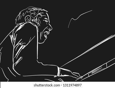 Piano player.  White silhouette on black background. Black and white musical illustration. Vector.