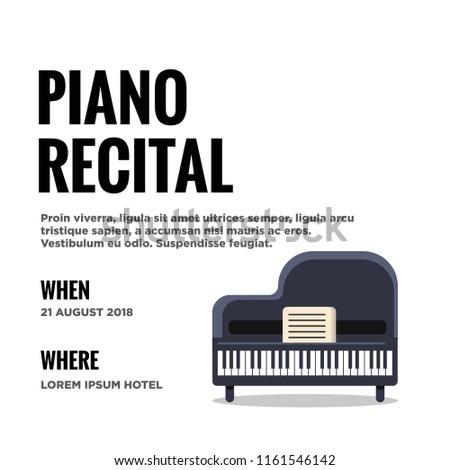 Piano Recital Invitation Vector Illustration Flat Stock Vector