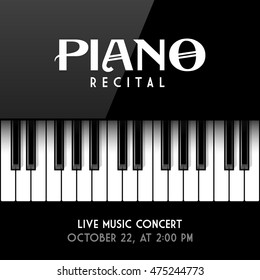 Piano recital poster, leaflet or invitation design template. Vector illustration.