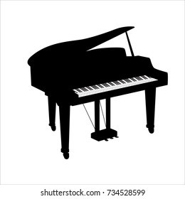 Piano silhouette icon isolated on white background