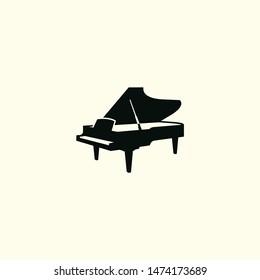 piano silhouette vector art logo icon illustration