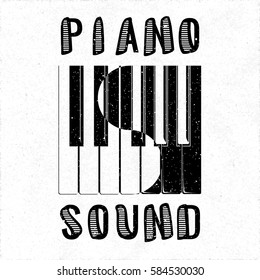 Piano Sound Calligraphy Illusion Logo Lettering with Piano Keys Yin Yang Style Composition and Grunge Effect - Black Elements on White Rough Paper Background - Flat Contrast Graphic Design