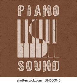 Piano Sound Calligraphy Illusion Logo Lettering with Piano Keys Yin Yang Style Composition and Grunge Effect - Beige Elements on Brown Rough Paper Background - Flat Contrast Graphic Design