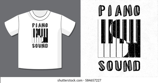 Piano Sound Calligraphy Illusion Logo Lettering and Piano Keys Composition with Potential Application Example on T-Shirt Vector Template - Black Elements on White Background - Yin Yang Graphic Design