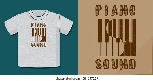 Piano Sound Calligraphy Illusion Logo Lettering and Piano Keys Composition with Potential Application Example on T-Shirt Vector Template - Brown on Heather Grey Background - Yin Yang Graphic Design