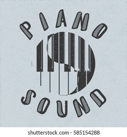 Piano Sound Calligraphy Illusion Logo Lettering with Piano Keys Yin Yang Composition and Grunge Effect - Pale Black Elements on Blue Rough Paper Background - Flat Contrast Graphic Design