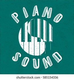 Piano Sound Calligraphy Illusion Logo Lettering with Piano Keys Yin Yang Composition and Grunge Effect - White Elements on Turquoise Paper Background - Flat Contrast Graphic Design