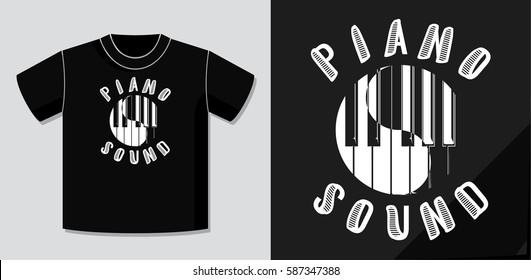Piano Sound Calligraphy Illusion Logo Lettering and Piano Keys Circle Composition with Application Example on T-Shirt Vector Template - White Elements on Black Background - Yin Yang Graphic Design