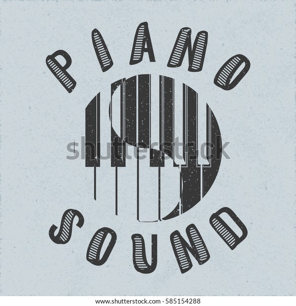 Piano Sound Calligraphy Illusion Logo Lettering Stock Vector