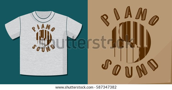 Piano Sound Calligraphy Illusion Logo Lettering and Piano Keys Circle Composition with Application Example on T-Shirt Vector Template - Brown on Heather Grey Background - Yin Yang Graphic Design