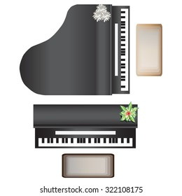 Piano top view for interior, vector illustration