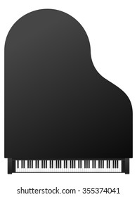 Piano top view on a white background.