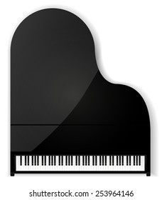Piano - vector drawing isolated.
