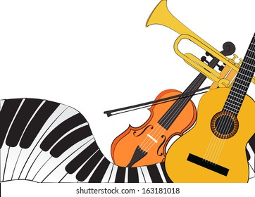 Piano, violin, trumpet and guitar on white background