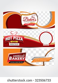 piazza & bakery header &web banner vector illustration