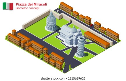 The Piazza dei Miracoli surrounded by city isometric illustration. The Pisa Cathedral, the Pisa Baptistry and the Leaning Tower of Pisa architectural complex vector icon.