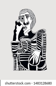 Picasso portrait. Vector illustration hand drawn.